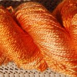 Hand-dyed 100% Silk  - Orange Paintbrush